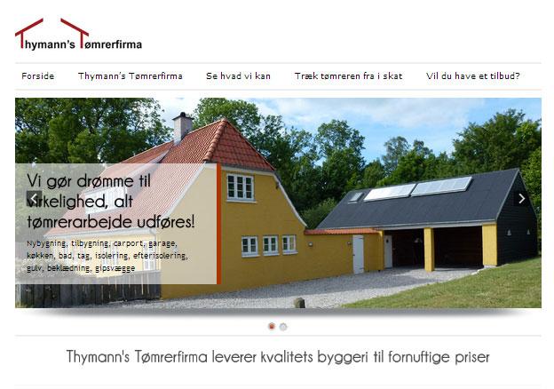 Thymann's Tømrerfirma hjemmeside design