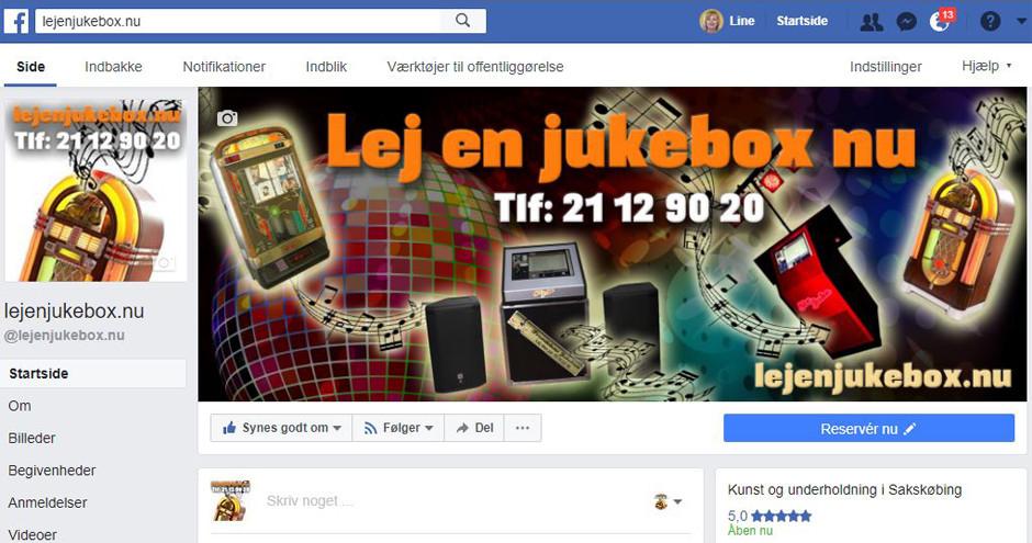 Facebook side til jukeboks udlejnings virksomhed