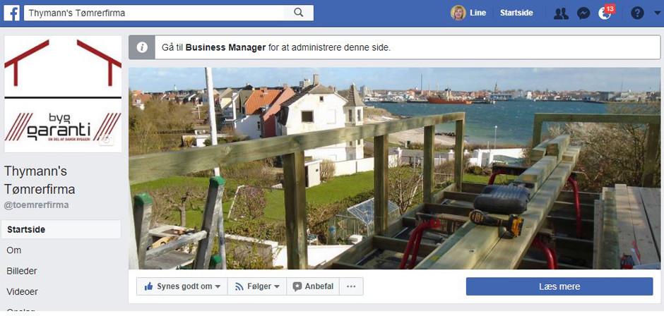 Opsætning af Facebook side til tømrerfirma