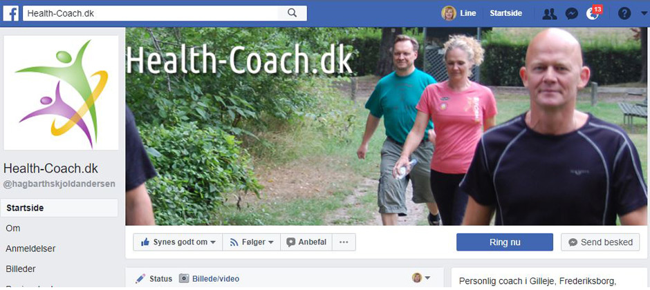 Facebook side til coaching firma