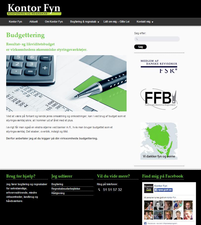 Kontor Fyn's hjemmeside / website