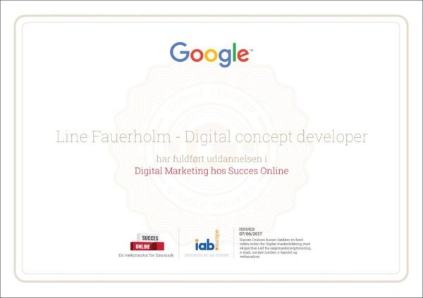 Line Fauerholm er nu Google certificeret
